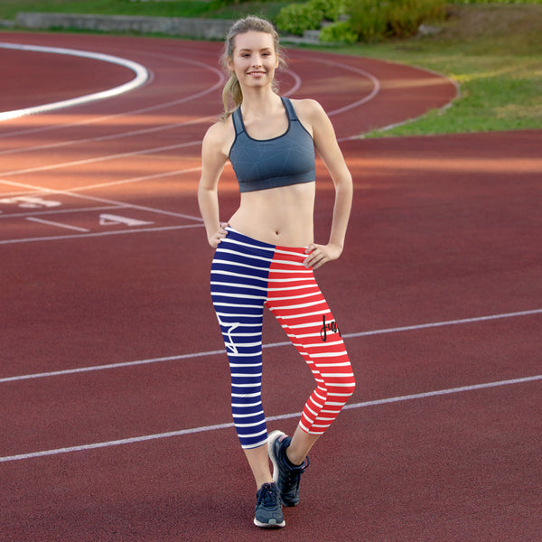4th of July | Red White and Navy Horizontal Striped UPF 40 Capri Leggings | Just Abi Athletic Collection