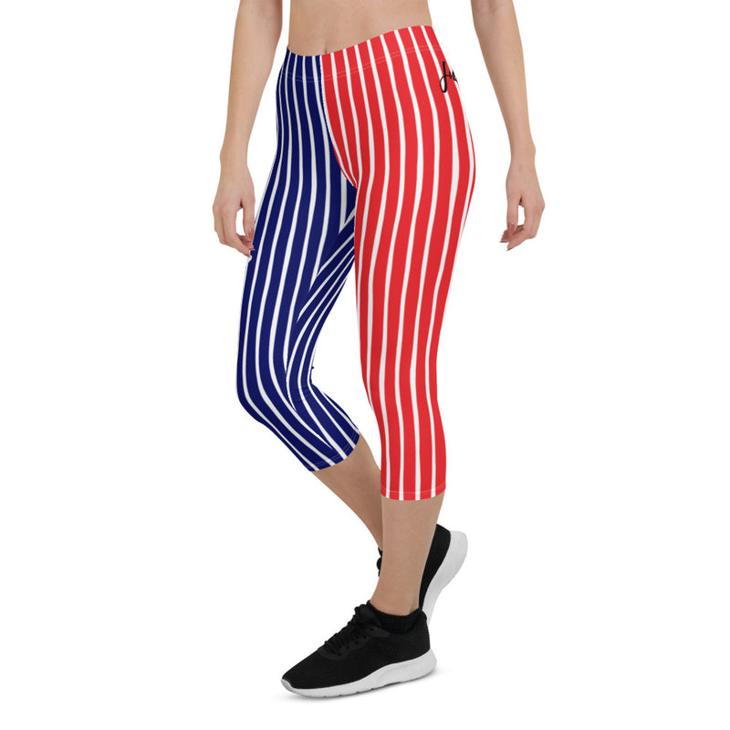 4th of July | Red White and Navy Vertical Striped UPF 40 Capri Leggings | Just Abi Athletic Collection