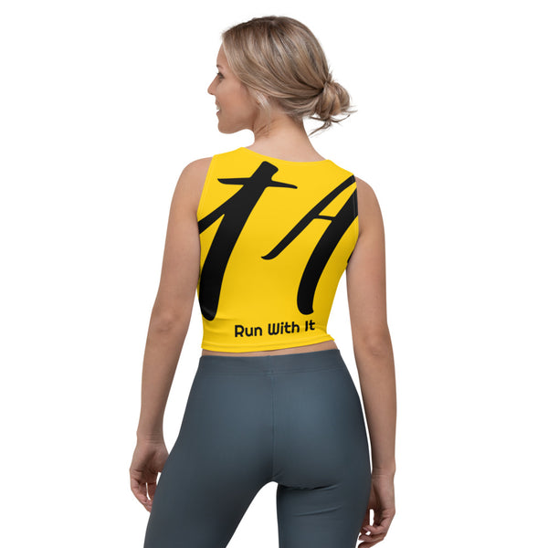 Run With It - Song | Yoga Yellow 4-Way Stretch Slim-Fit Performance Crop Top | Just Abi Athletic Collection