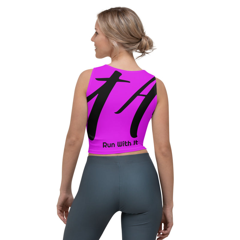 Run With It - Kristin | Pilatles Purple 4-Way Stretch Slim-Fit Performance Crop Top | Just Abi Athletic Collection