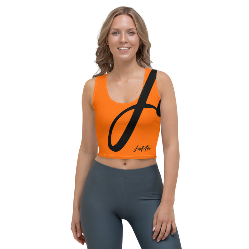 Run With It - Rita | Zoomba Orange 4-Way Stretch Slim-Fit Performance Crop Top | Just Abi Athletic Collection
