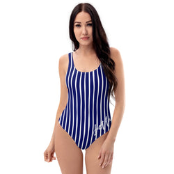 4th of July | Navy and White Vertical Striped One-Piece Swimsuit | Just Abi Athletic Collection