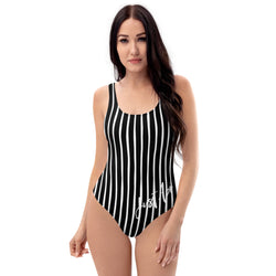 4th of July | Black and White Vertical Striped One-Piece Swimsuit | Just Abi Athletic Collection