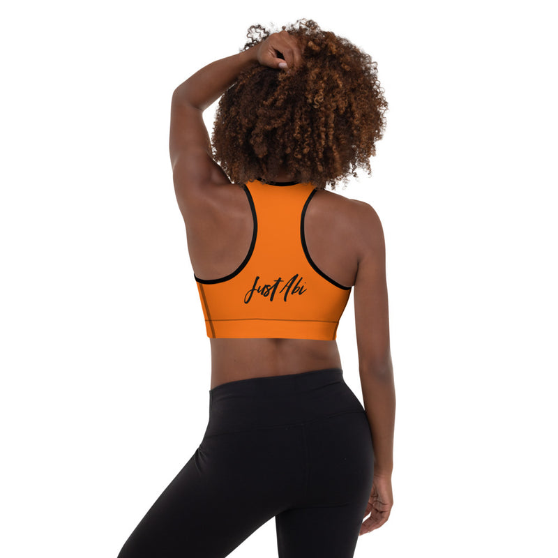 Run With It - Rita | Zoomba Orange Padded Sports Bra | Just Abi Athletic Collection