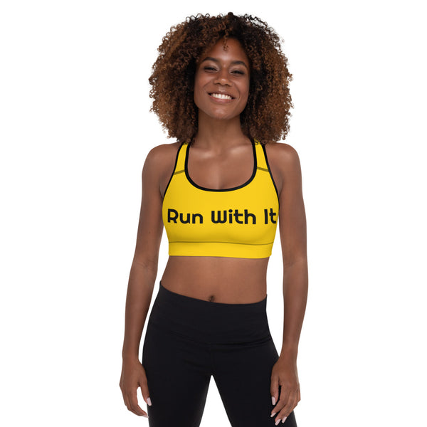 Run With It - Song | Yoga Yellow Padded Sports Bra | Just Abi Athletic Collection