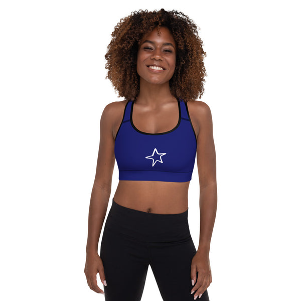 4th of July | Navy Padded Sports Bra | Just Abi Athletic Collection
