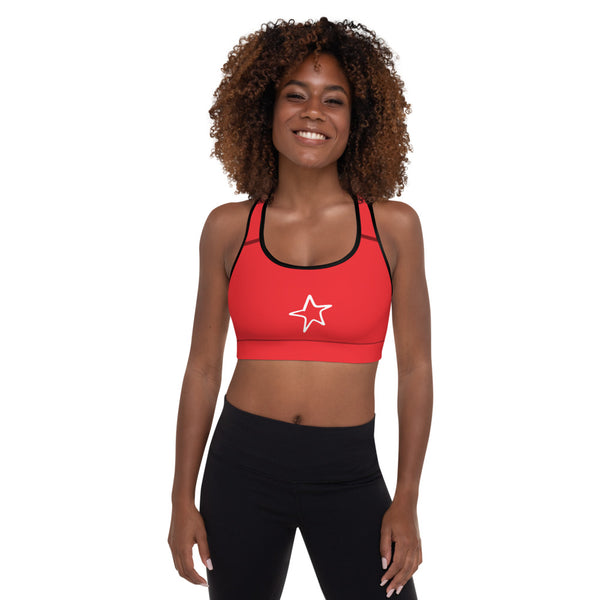 4th of July | Red Padded Sports Bra | Just Abi Athletic Collection