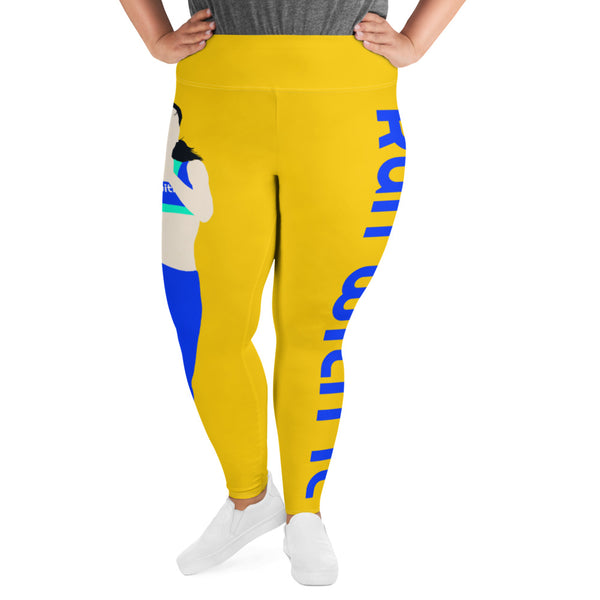 Run With It - Song | Yoga Yellow Plus-Size Performance Leggings | Just Abi Athletic Collection