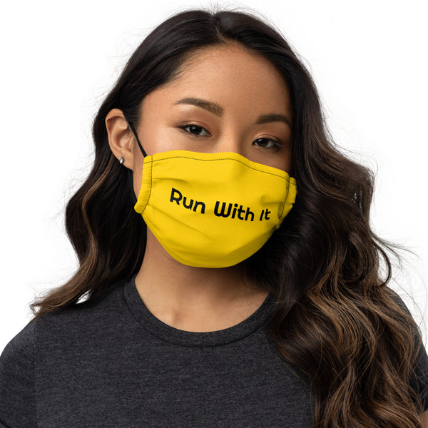 Run With It - Song | Yoga Yellow Premium Nose Wire Face Mask | Just Abi Athletic Collection