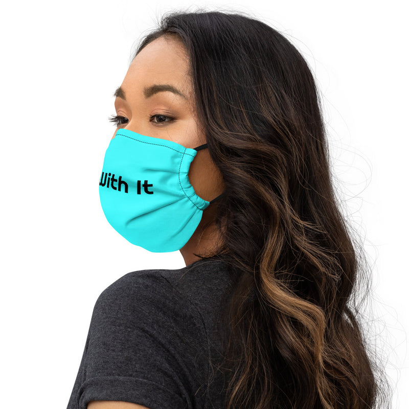 Run With It - Jen | Bicycle Blue Premium Nose Wire Face Mask | Just Abi Athletic Collection