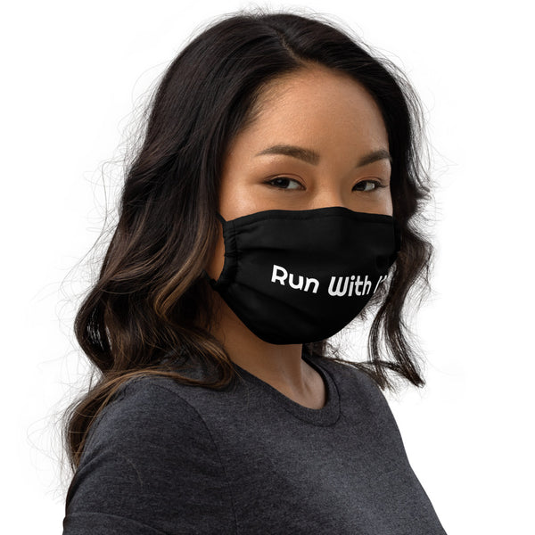 Run With It | Black Super Soft Premium Nose Wire Face Mask | Just Abi Athletic Collection