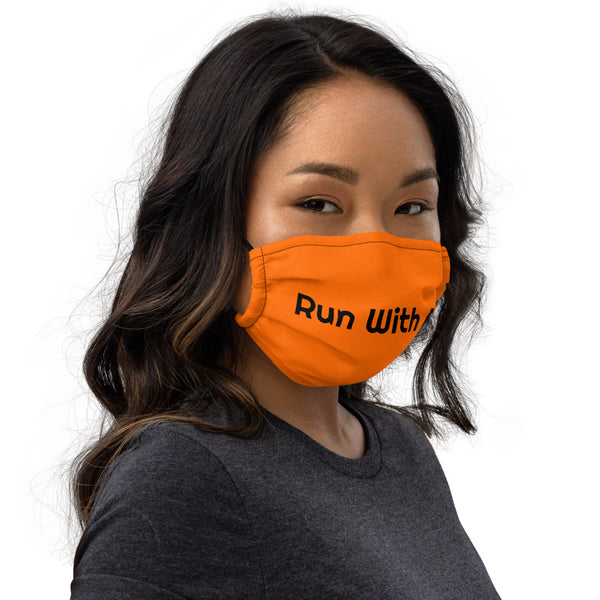 Run With It - Rita | Zoomba Orange Nose Wire Premium Face Mask | Just Abi Athletic Collection