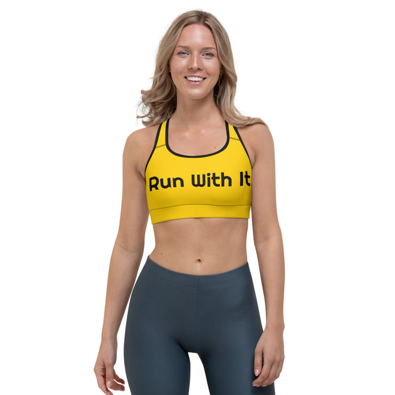 Run With It - Song | Yoga Yellow Sports Bra | Just Abi Athletic Collection