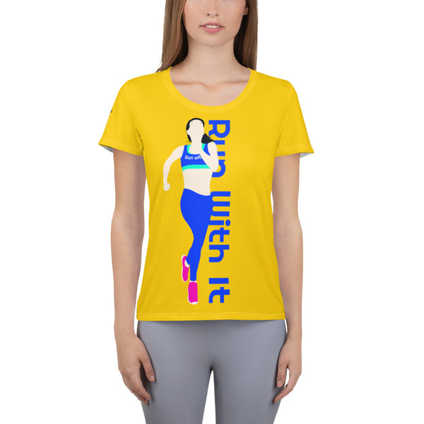 Run With It - Song | Yoga Yellow Women's Sweat-Wicking Performance T-Shirt | Just Abi Athletic Collection