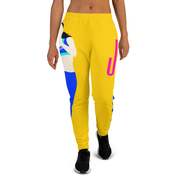 Run With It - Song | Yoga Yellow Women's Drawstring Cotton Blend Pocket Joggers | Just Abi Athletic Collection