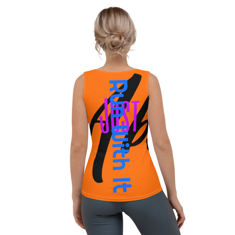 Run With It - Rita | Zoomba Orange 4-Way Stretch Tank Top | Just Abi Athletic Collection