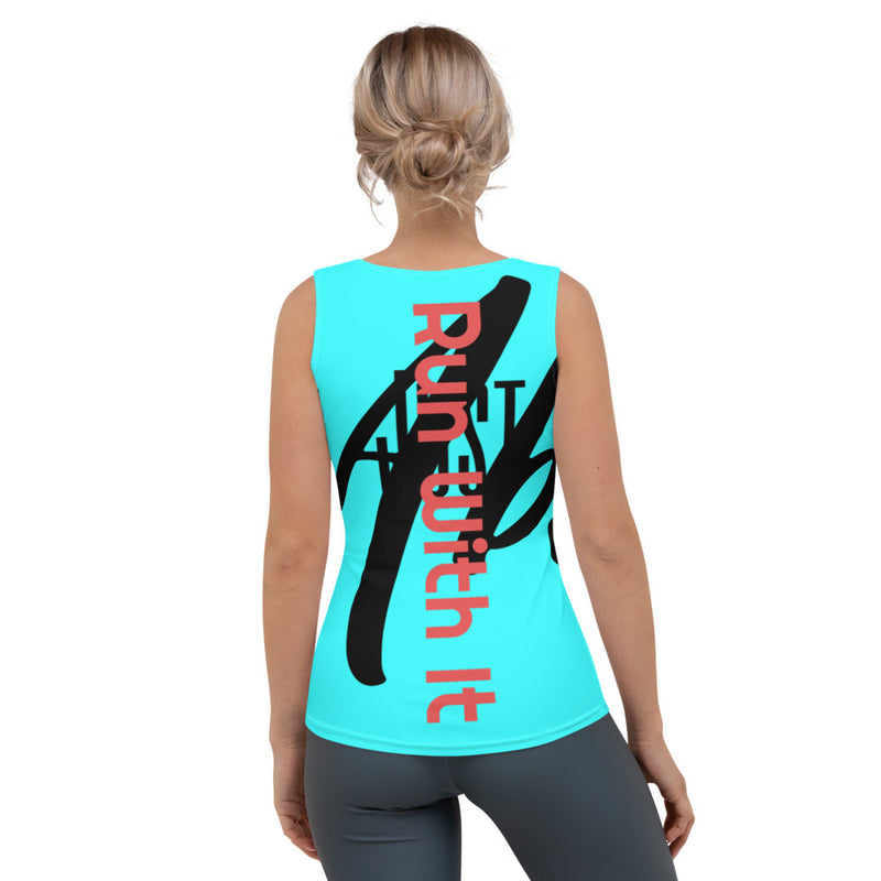 Run With It - Jen | Bicycling Blue 4-Way Stretch Tank Top | Just Abi Athletic Collection