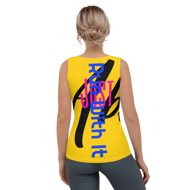 Run With It - Song | Yoga Yellow 4-Way Stretch Tank Top | Just Abi Athletic Collection