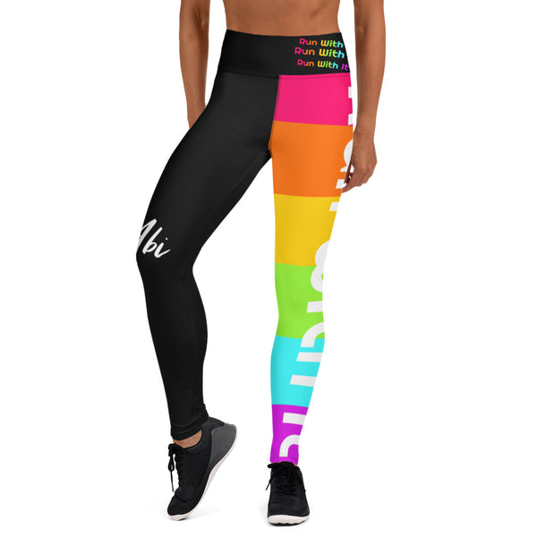 Run With It - Rainbow | Black High-Waisted Pocket Yoga Pants Style Running Leggings | Just Abi Athletic Collection