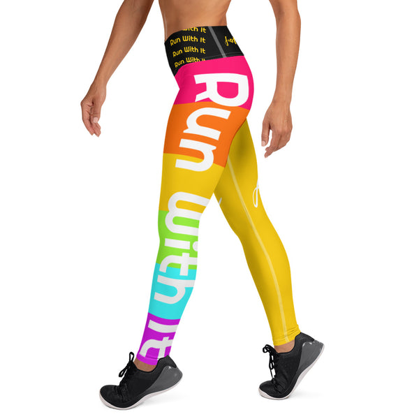 Run With It - Song | Yoga Yellow/Rainbow Yoga Style Running High-Waisted Leggings | Just Abi Athletic Collection