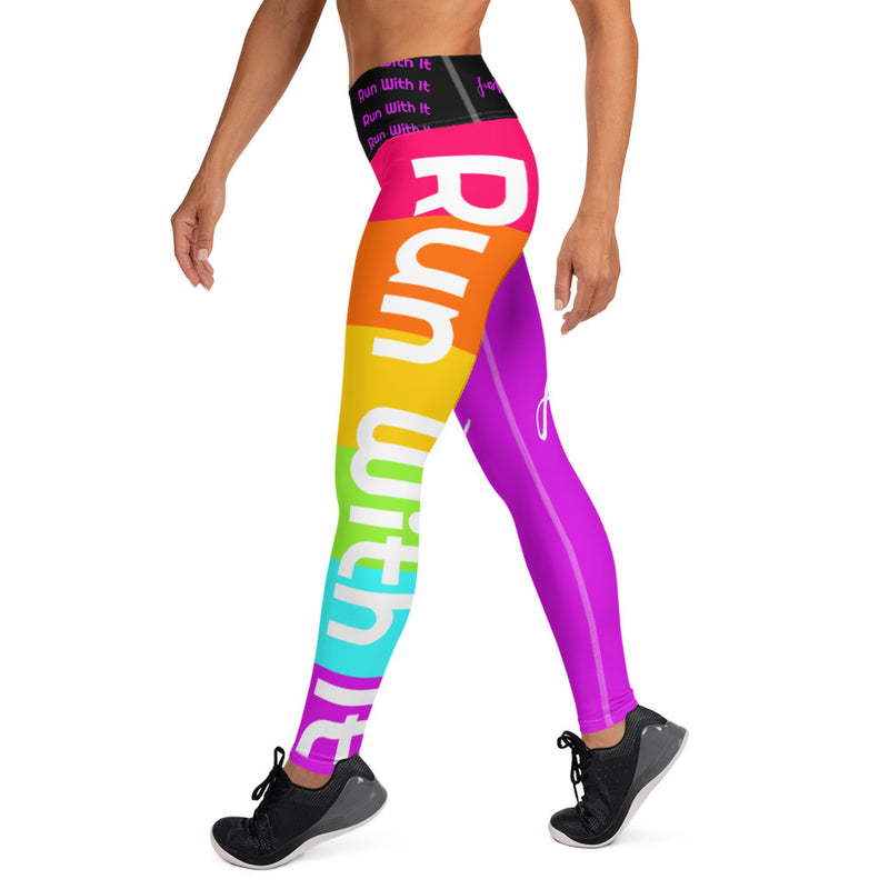 Run With It - Kristin | Pilates Purple/Rainbow High-Waisted Pocket Yoga Pants Style Running Leggings | Just Abi Athletic Collection
