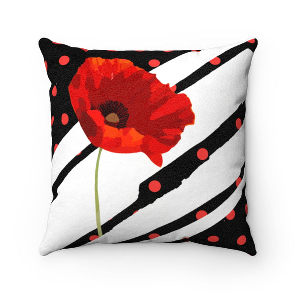 Poppy Dot White on Black Faux Suede Square Pillow | Abi C Designs