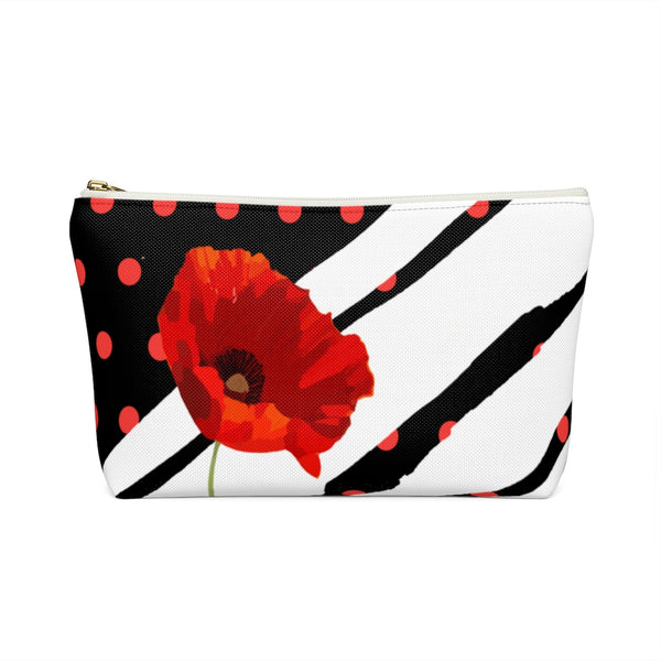 Poppy Dot White on Black Accessory Pouch | Abi C Designs