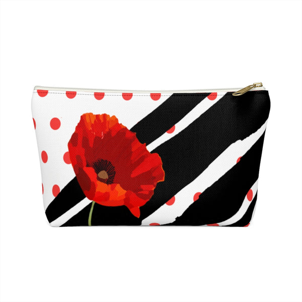 Poppy Dot Black on White Accessory Pouch | Abi C Designs
