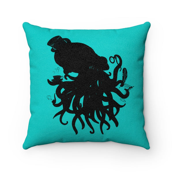 Cthulhu Gentleman Black on Tiffany Faux Suede Square Pillow | Abi C Designs