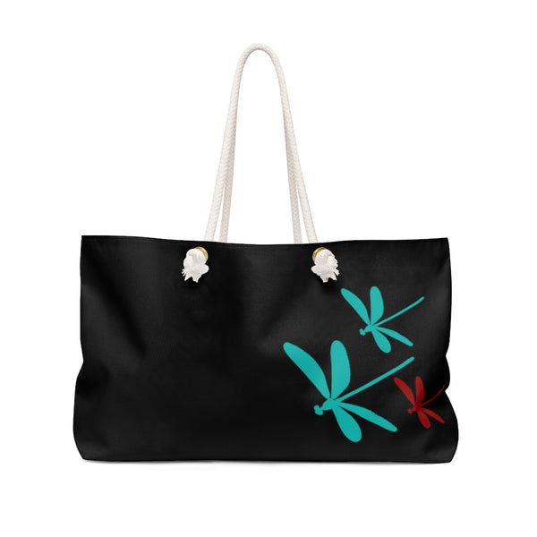 Dragonflies Weekender Bag - Black | Just Abi Collection