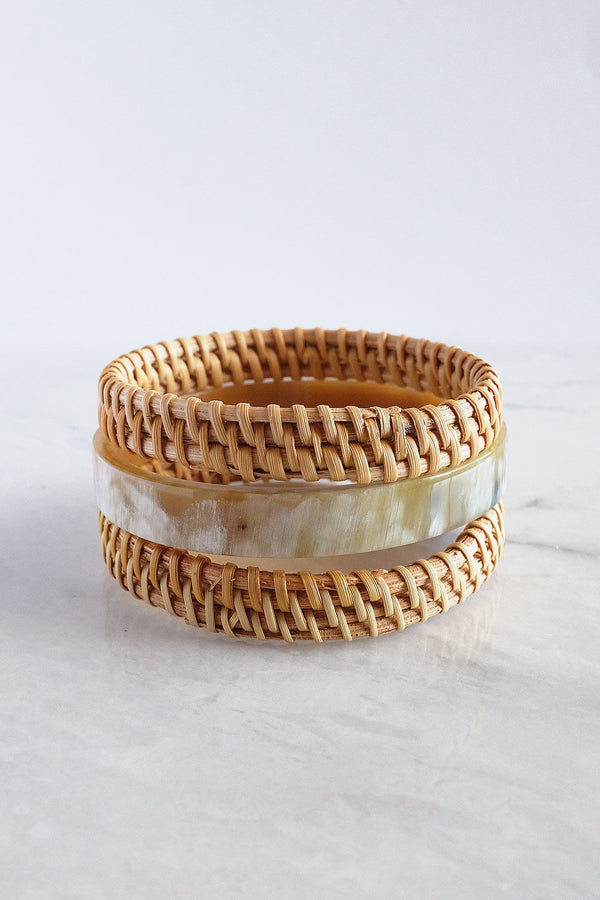 Thuy Binh Buffalo Horn & Handwoven Rattan Bangle Bracelets (3pcs)