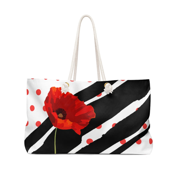 Poppy Dot Black on White Weekender Bag | Just Abi Collection