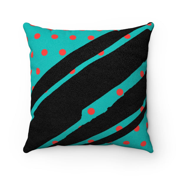 Poppy Dot Black on Tiffany Faux Suede Square Pillow | Abi C Designs