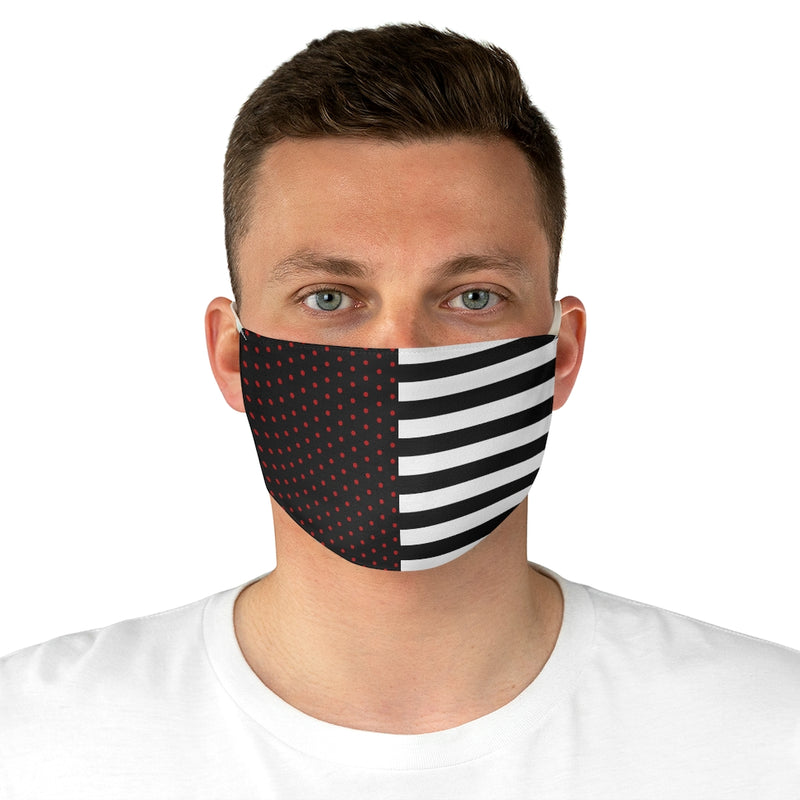 Stripy Dots Black with Red Dots and White Stripes Fabric Face Mask