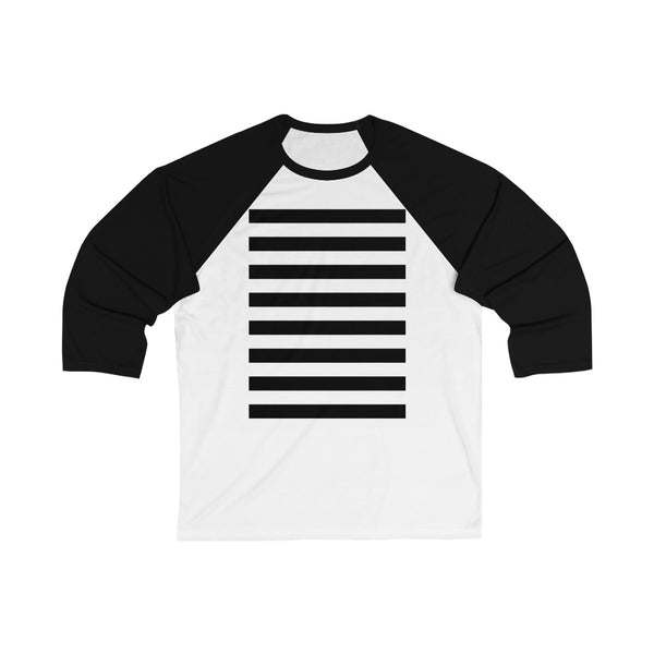 Stripy Dots Black Stripe on Black 3/4 Sleeve Baseball Tee | Abi C Designs