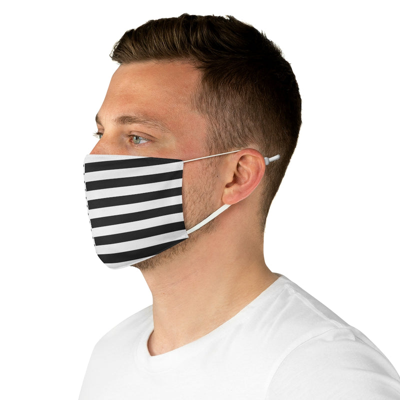 Stripy Dots Black on White Fabric Face Mask | Just Abi Collection
