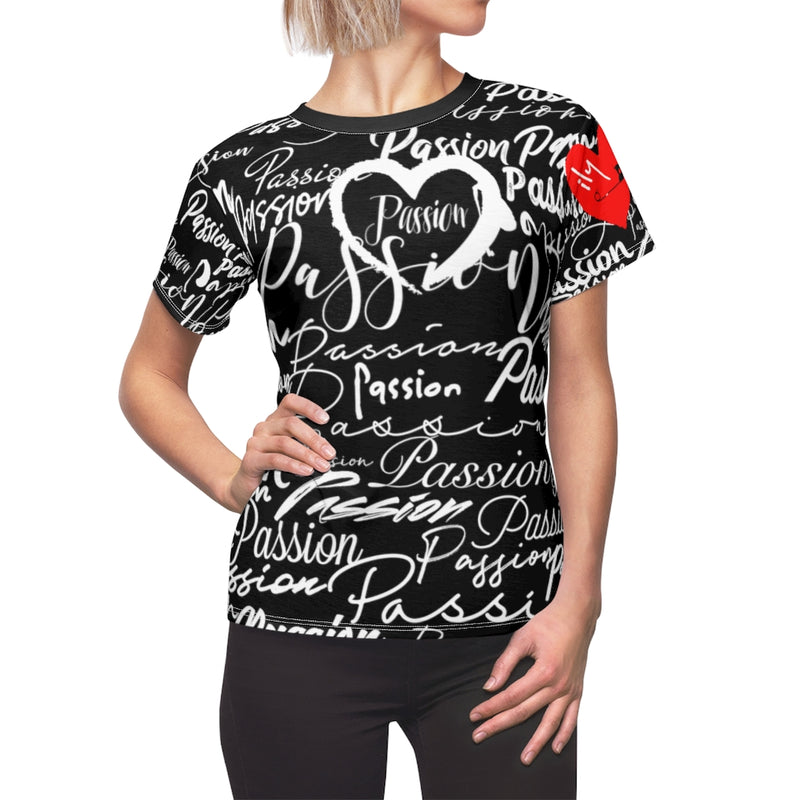 Passion Heart Black Tee | Just Abi Collection