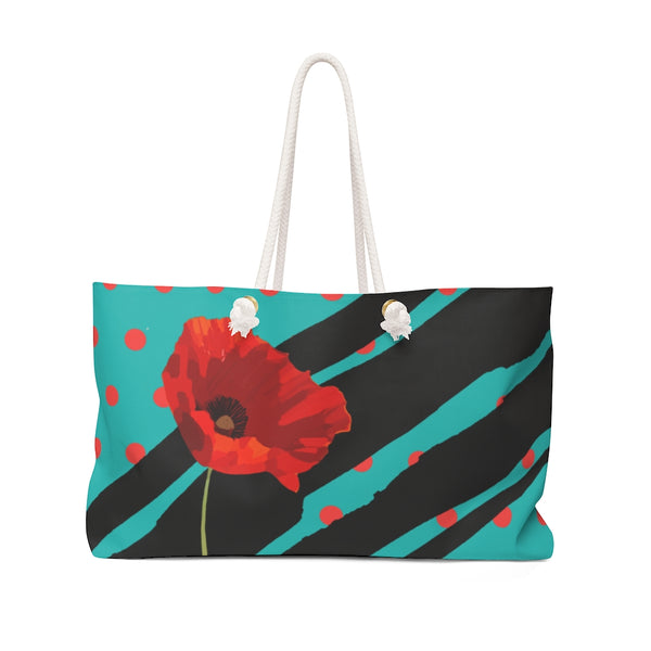 Poppy Dot Black on Tiffany Weekender Bag | Abi C Designs