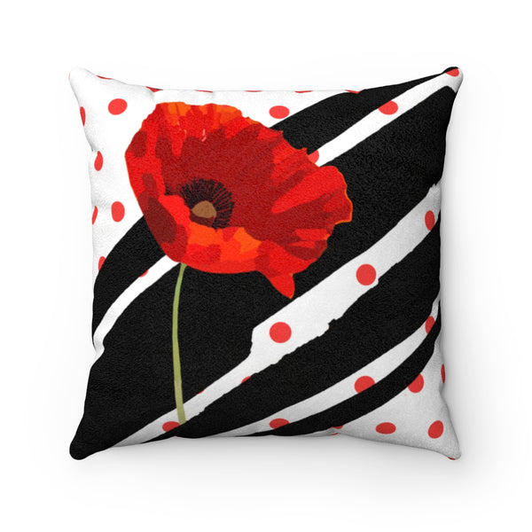 Poppy Dot Black on White Faux Suede Square Pillow | Abi C Designs