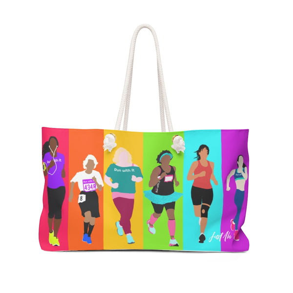Run With It- Rainbow | Oversized Wide-mouthed Weekender Tote Bag | Just Abi Athletic Collection