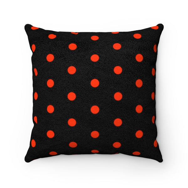 Ladybug Black Faux Suede Square Pillow | Abi C Designs