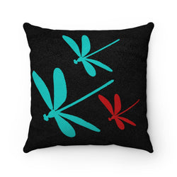 Dragonfly Faux Suede Square Pillow | Just Abi Housewares Collection