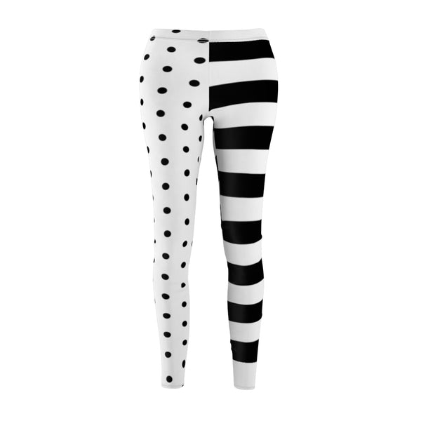 Stripy Dots Black & White Casual Leggings | Just Abi Collection