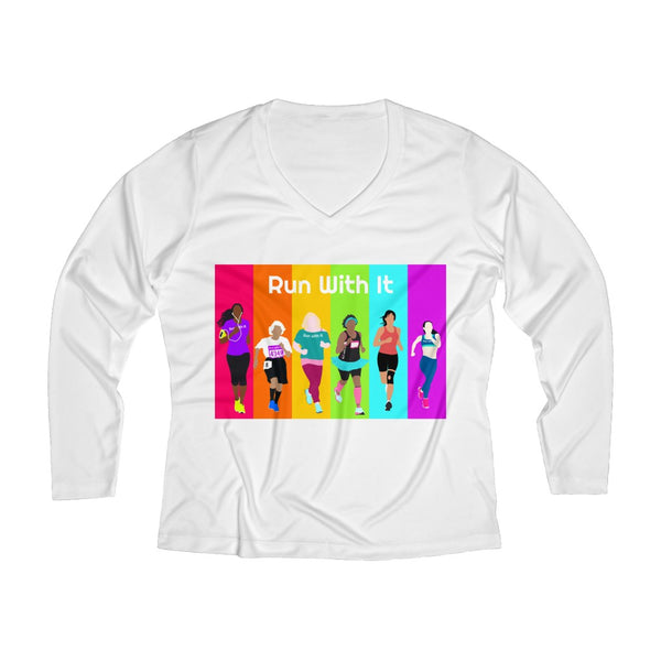 Run With It - Rainbow | Women's Long Sleeve Performance V-Neck Tee