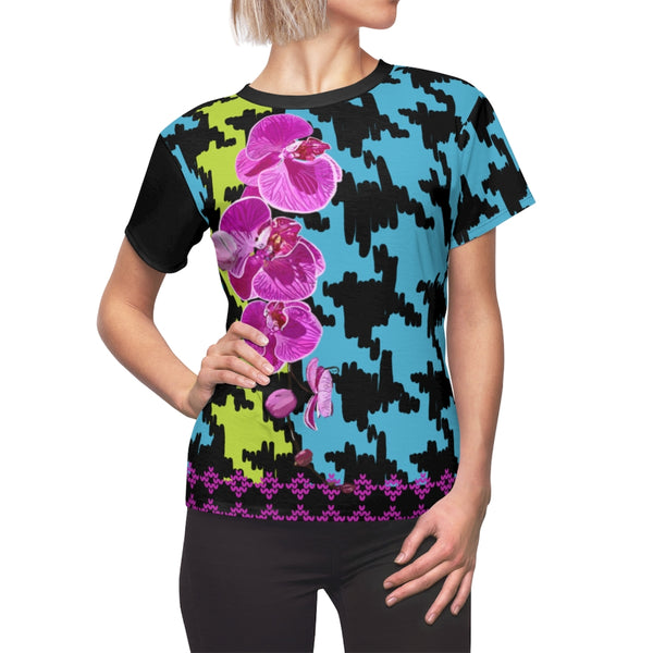 Houndstooth Orchid Tee | Just Abi Collection
