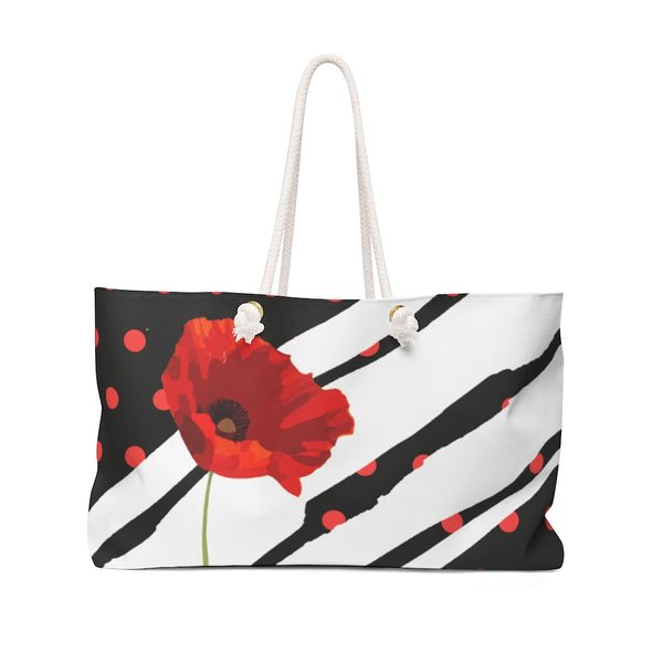 Poppy Dot White on Black Weekender Bag | Just Abi Collection