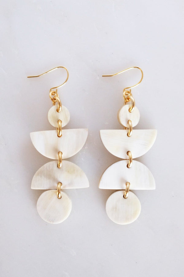 Ha Giang Geometric Buffalo Horn Dangle Earrings