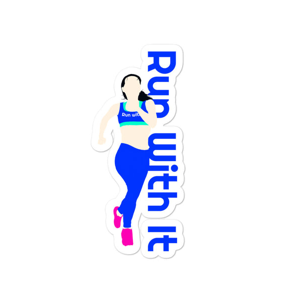 Run With It - Song | Opaque Vinyl Bubble-Free Stickers | Just Abi Athletic Collection