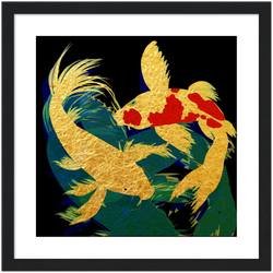 Gold Koi in Dark Waters by Abi Cunningham | Premium Wooden Framed Giclée Print