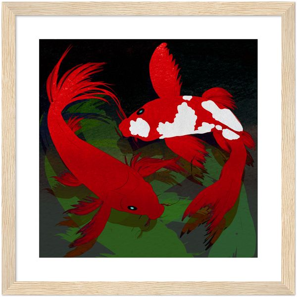 Red Koi in Dark Waters by Abi Cunningham | Premium Wooden Framed Giclée Print